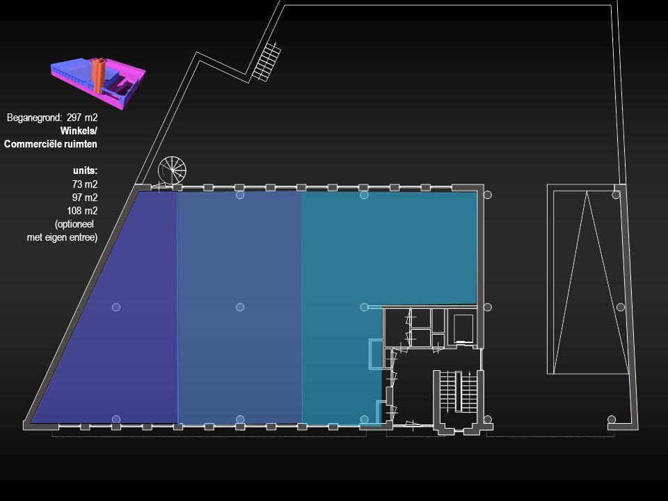 Beganegrond: 297 m2 Winkels/ Commerciële ruimten.