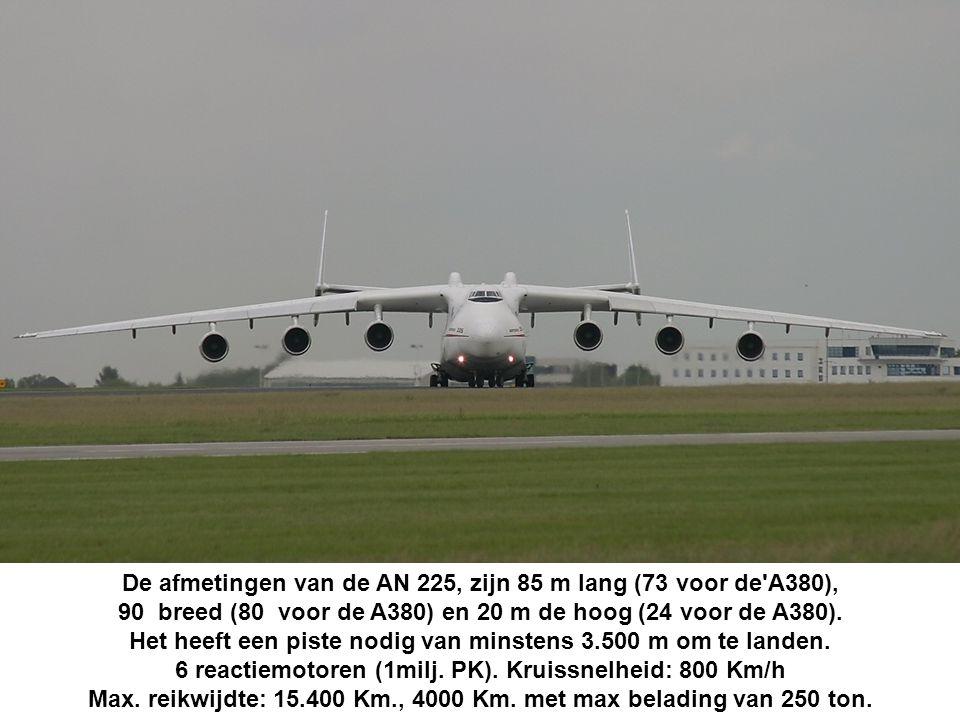 De afmetingen van de AN 225, zijn 85 m lang (73 voor de A380),