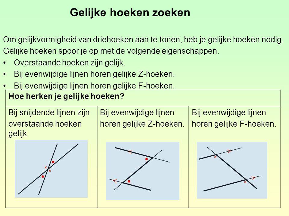 Gelijke hoeken zoeken Om gelijkvormigheid van driehoeken aan te tonen, heb je gelijke hoeken nodig.