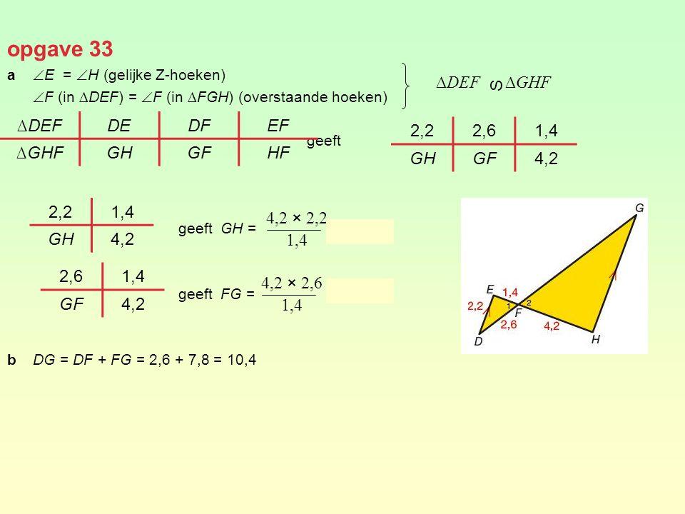 opgave 33 ∆DEF ∆GHF S ∆DEF DE DF EF ∆GHF GH GF HF 2,2 2,6 1,4 GH GF