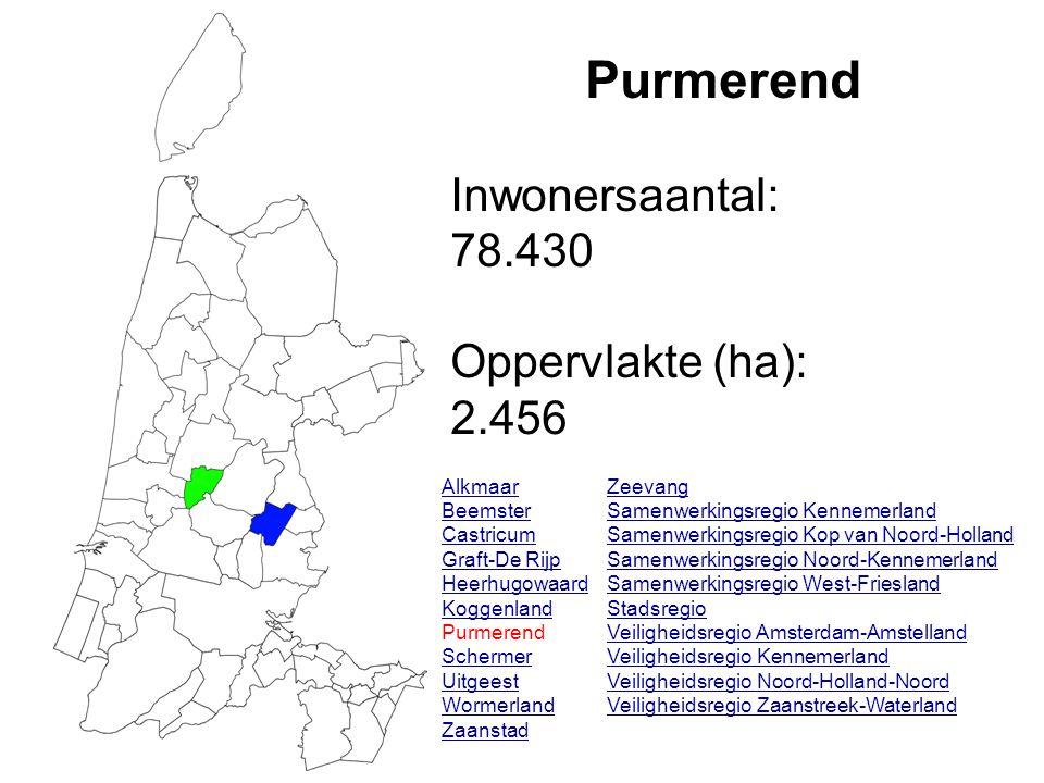 Purmerend Inwonersaantal: 78.430 Oppervlakte (ha): 2.456 Alkmaar