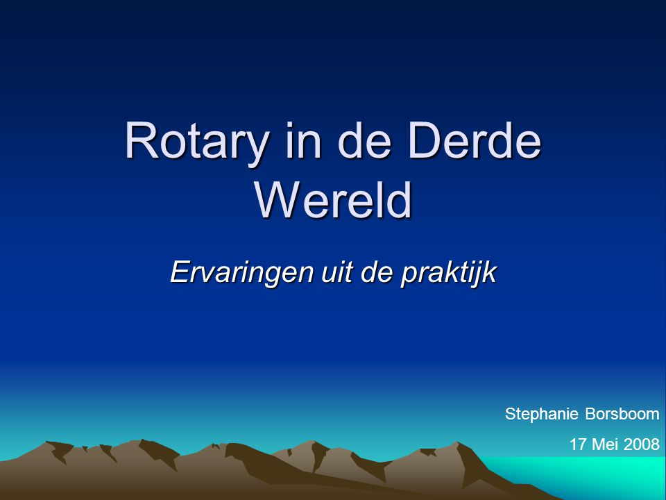 Rotary in de Derde Wereld