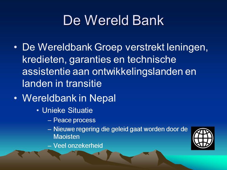 De Wereld Bank De Wereldbank Groep verstrekt leningen, kredieten, garanties en technische assistentie aan ontwikkelingslanden en landen in transitie.