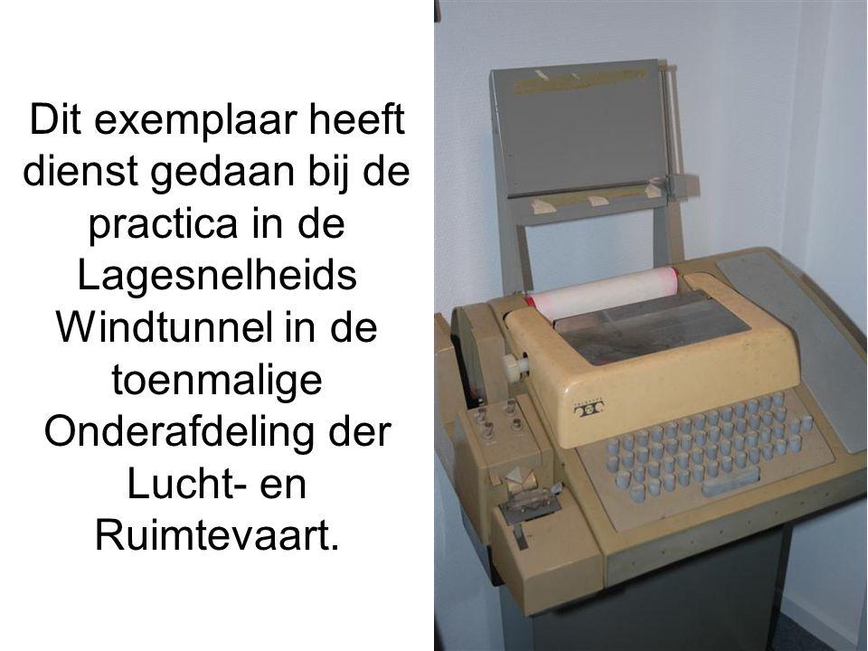 Dit exemplaar heeft dienst gedaan bij de practica in de Lagesnelheids Windtunnel in de toenmalige Onderafdeling der Lucht- en Ruimtevaart.