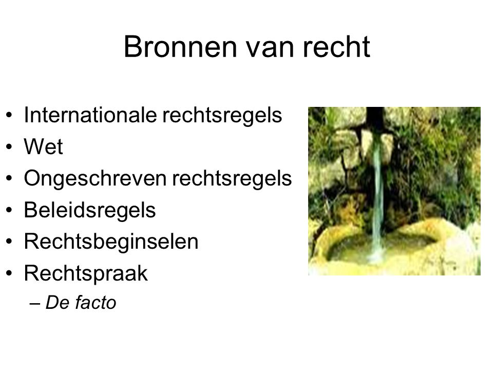 Bronnen van recht Internationale rechtsregels Wet