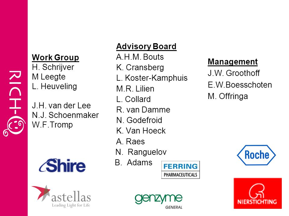 Advisory Board A.H.M. Bouts. K. Cransberg. L. Koster-Kamphuis. M.R. Lilien. L. Collard. R. van Damme.