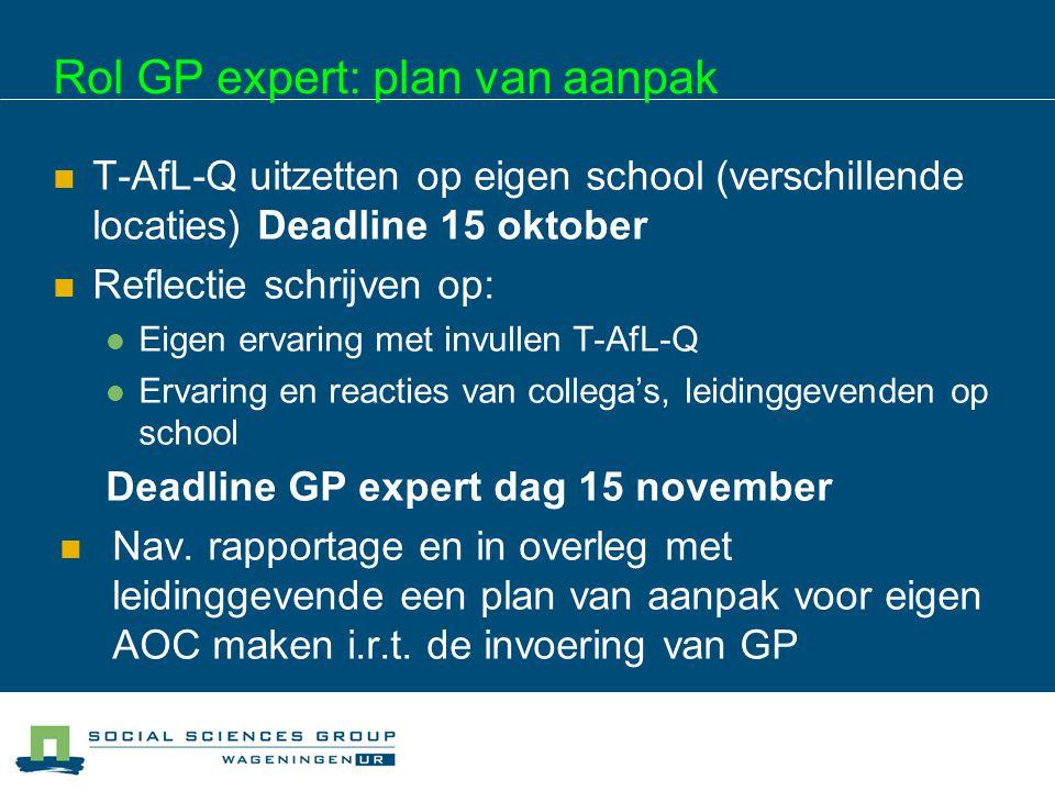 Rol GP expert: plan van aanpak