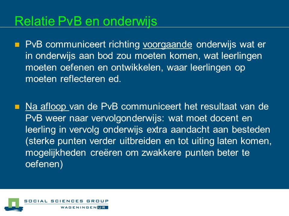 Relatie PvB en onderwijs