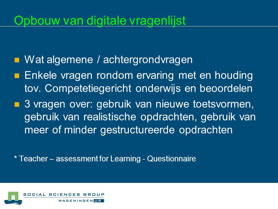 Opbouw van digitale vragenlijst