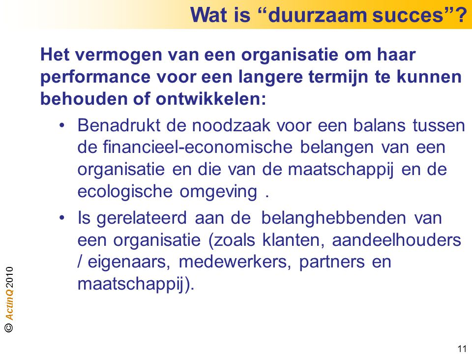 Wat is duurzaam succes