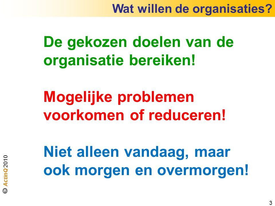 De gekozen doelen van de organisatie bereiken!