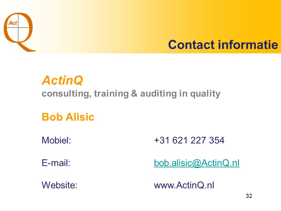 ActinQ consulting, training & auditing in quality