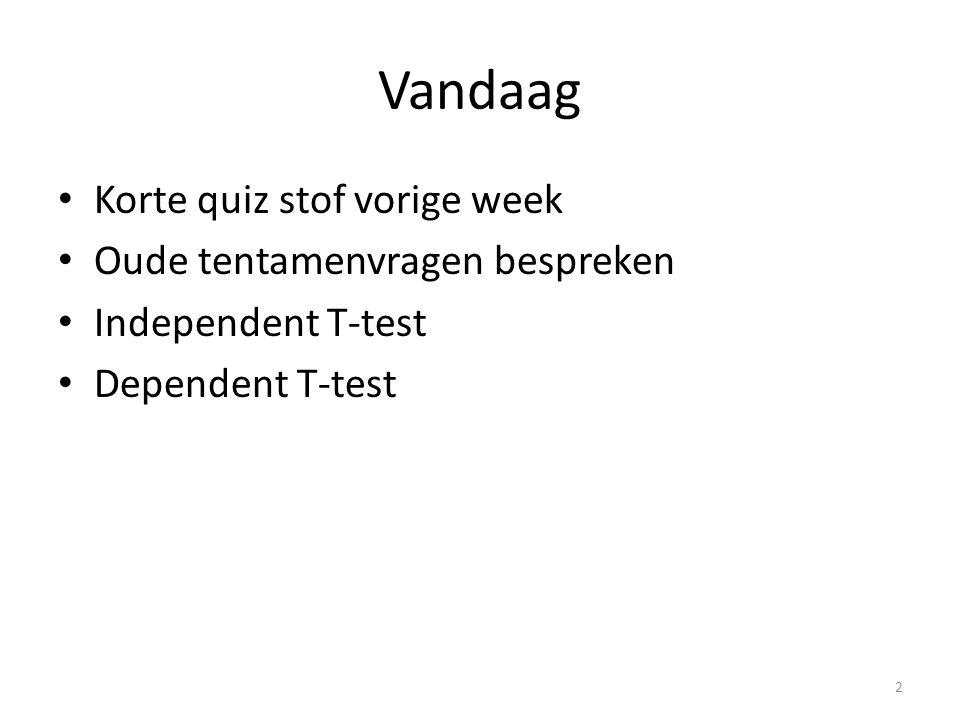 Vandaag Korte quiz stof vorige week Oude tentamenvragen bespreken