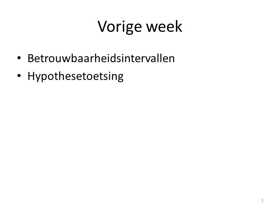 Vorige week Betrouwbaarheidsintervallen Hypothesetoetsing