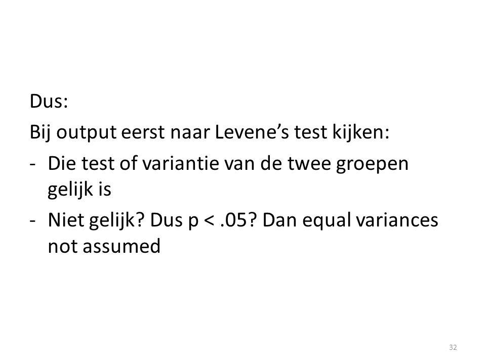 Dus: Bij output eerst naar Levene's test kijken: Die test of variantie van de twee groepen gelijk is.
