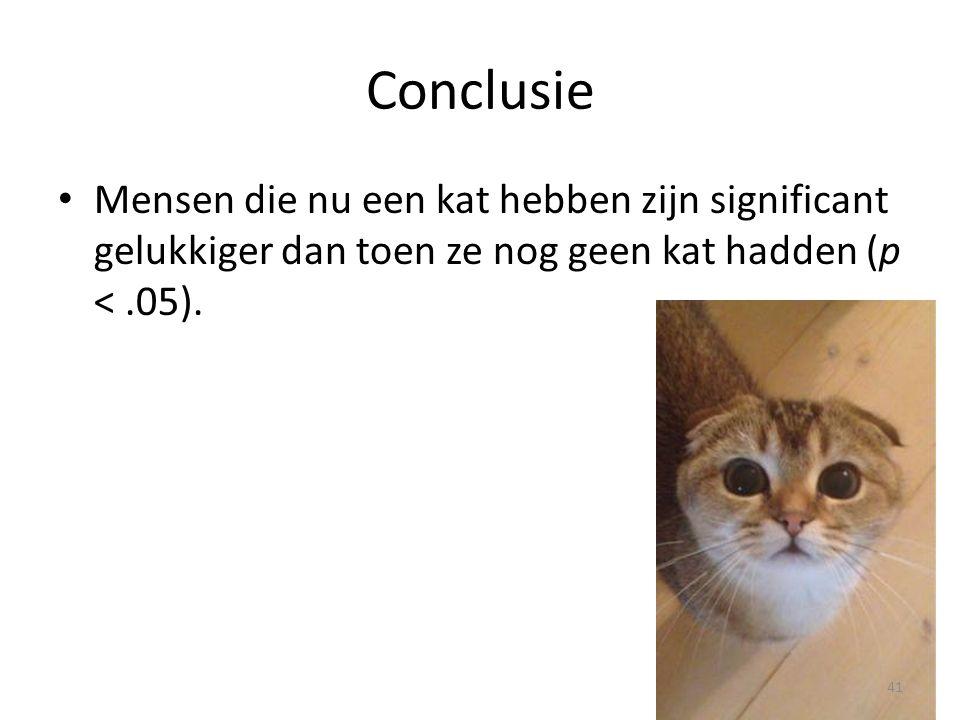 Conclusie Mensen die nu een kat hebben zijn significant gelukkiger dan toen ze nog geen kat hadden (p < .05).