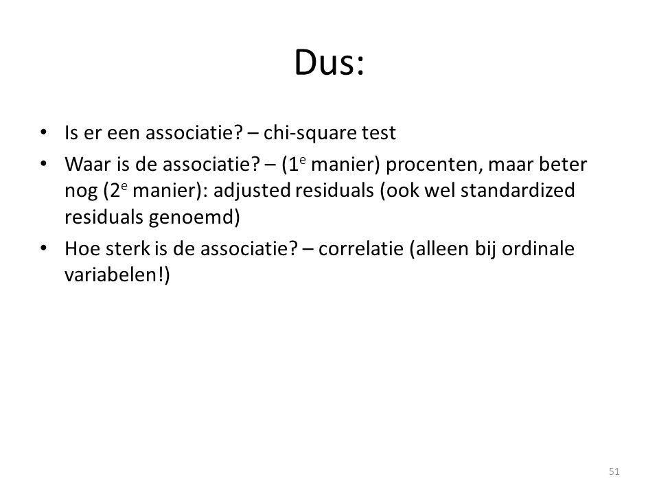 Dus: Is er een associatie – chi-square test