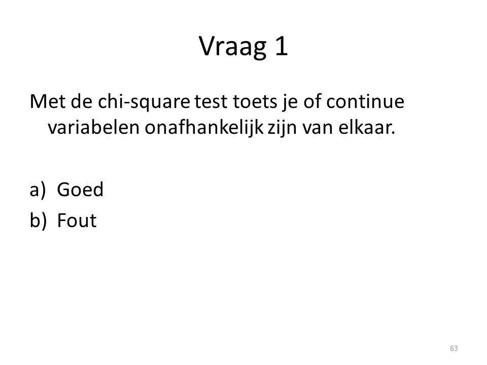 Vraag 1 Met de chi-square test toets je of continue variabelen onafhankelijk zijn van elkaar. Goed.