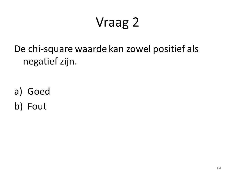 Vraag 2 De chi-square waarde kan zowel positief als negatief zijn.