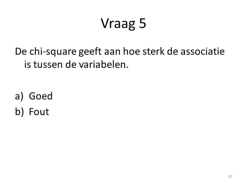 Vraag 5 De chi-square geeft aan hoe sterk de associatie is tussen de variabelen. Goed Fout