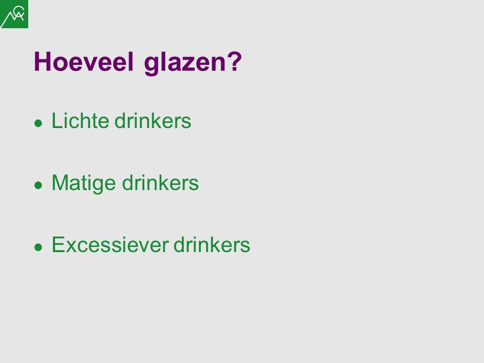 Hoeveel glazen Lichte drinkers Matige drinkers Excessiever drinkers