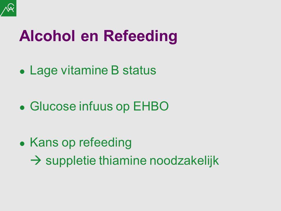 Alcohol en Refeeding Lage vitamine B status Glucose infuus op EHBO