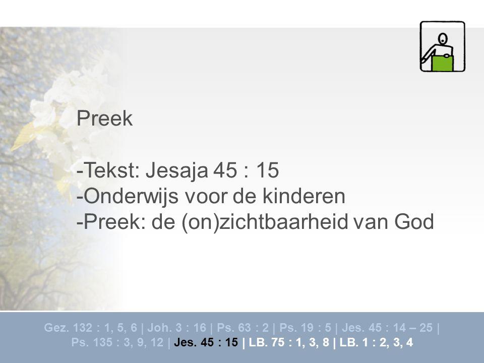 -Onderwijs voor de kinderen -Preek: de (on)zichtbaarheid van God