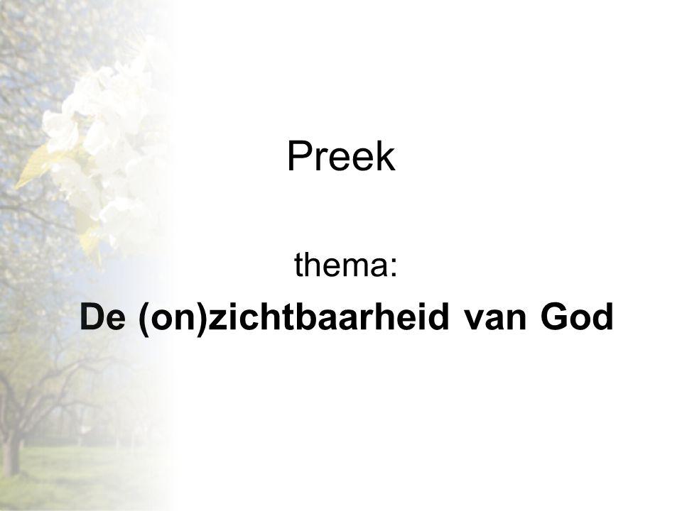 thema: De (on)zichtbaarheid van God