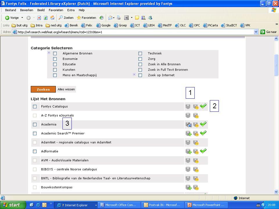 1 2. 3. Lijst met bronnen. De icoontjes achter de bronnen geven via een mouse-over meer informatie over de bron.