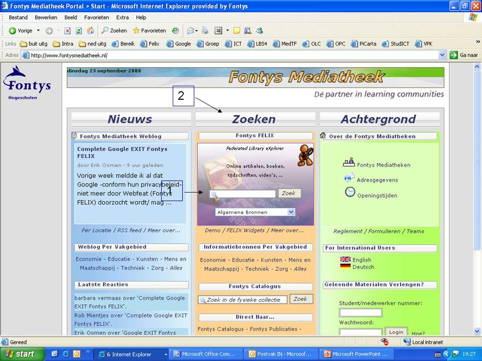2 1 Toegang tot Fontys Felix op Mediatheek Portal