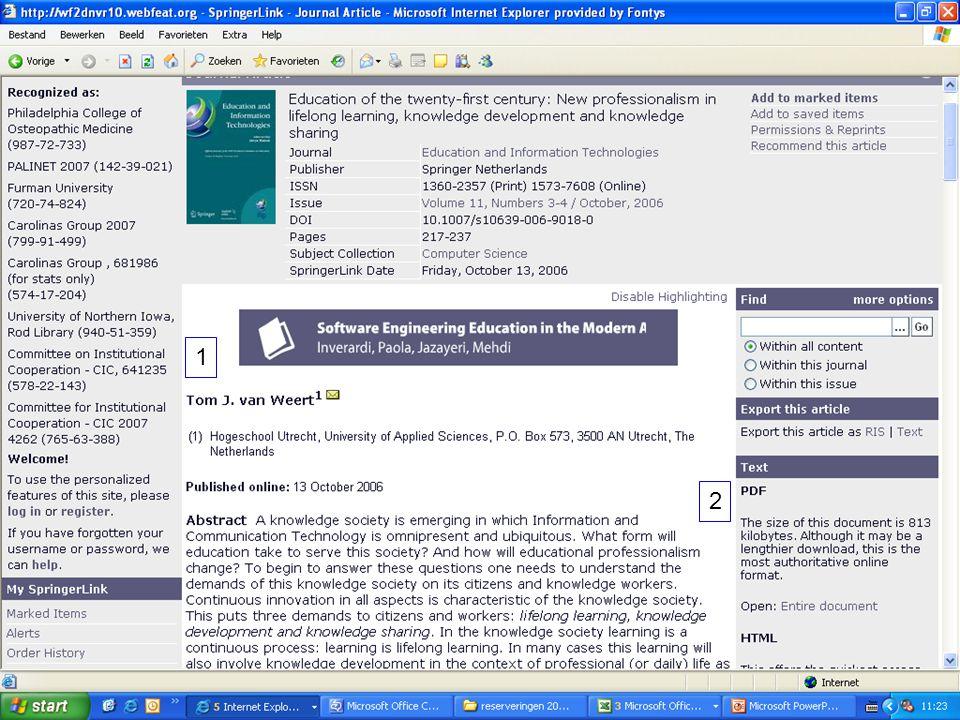 1 2 Gegevens van het artikel en link naar full-text.