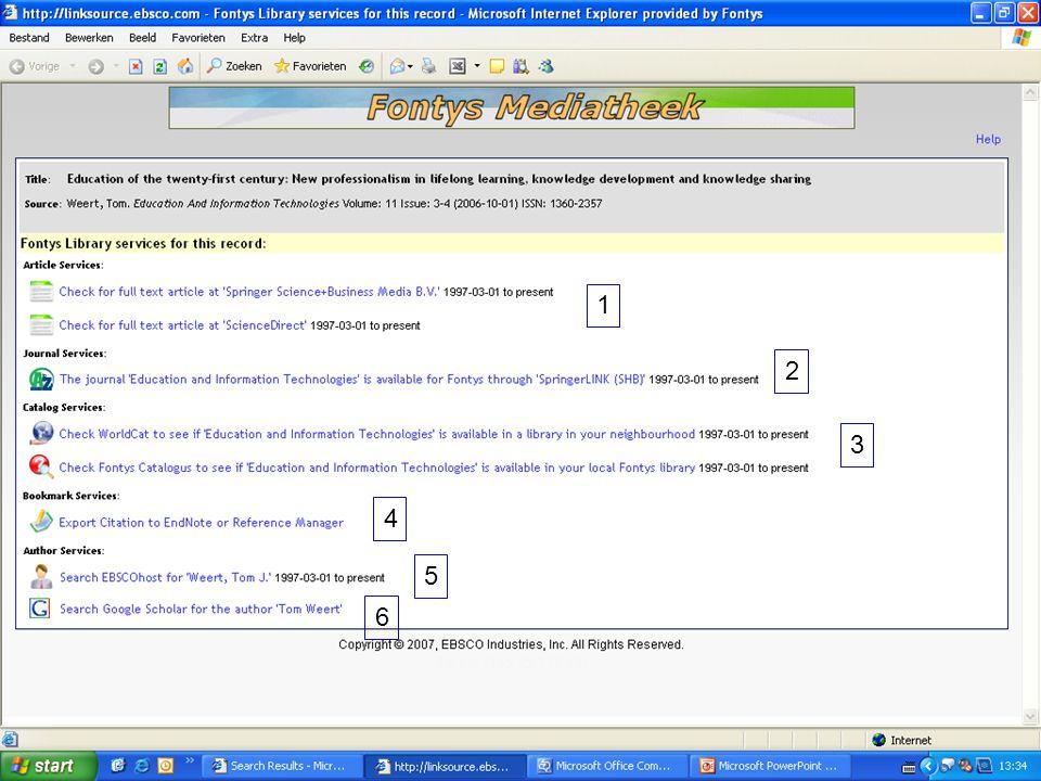 1 2 3 4 5 6 Extra informatieve diensten