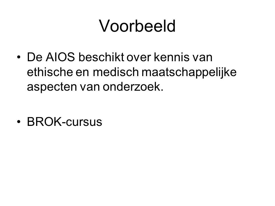 Voorbeeld De AIOS beschikt over kennis van ethische en medisch maatschappelijke aspecten van onderzoek.