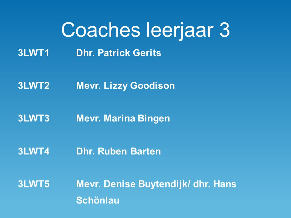 Coaches leerjaar 3