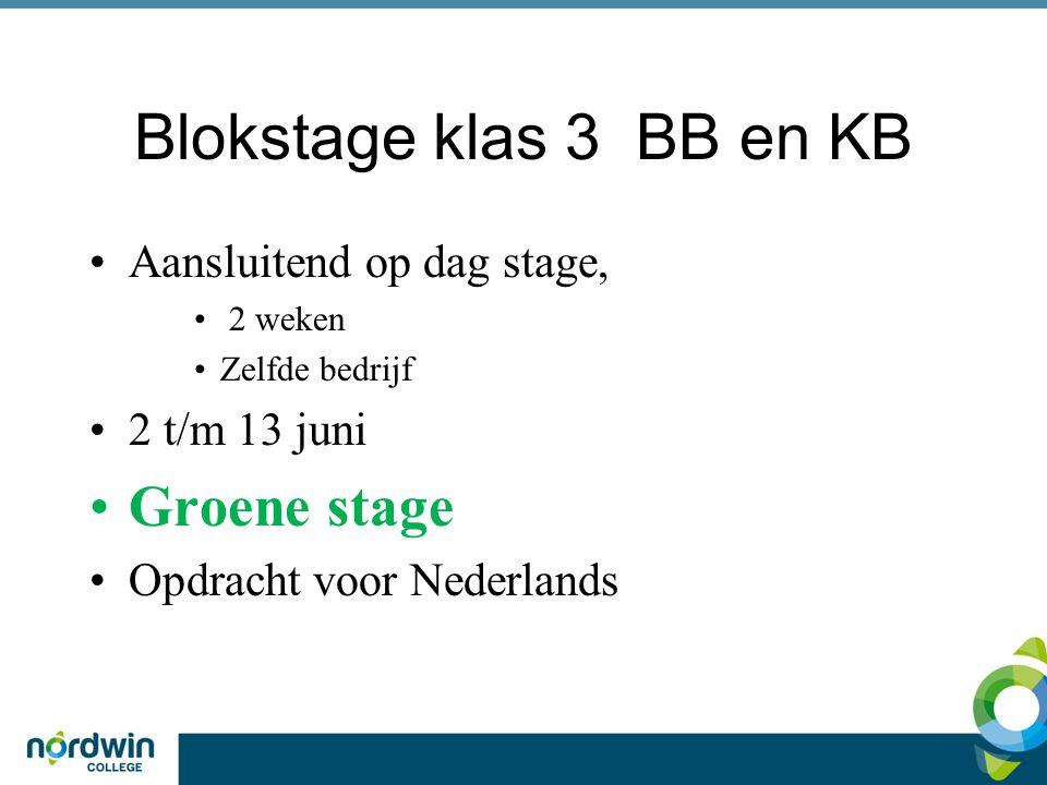 Blokstage klas 3 BB en KB Groene stage Aansluitend op dag stage,