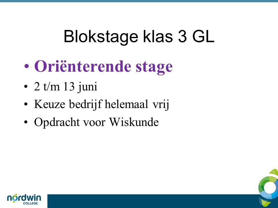 Blokstage klas 3 GL Oriënterende stage 2 t/m 13 juni