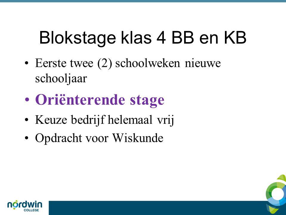Blokstage klas 4 BB en KB Oriënterende stage