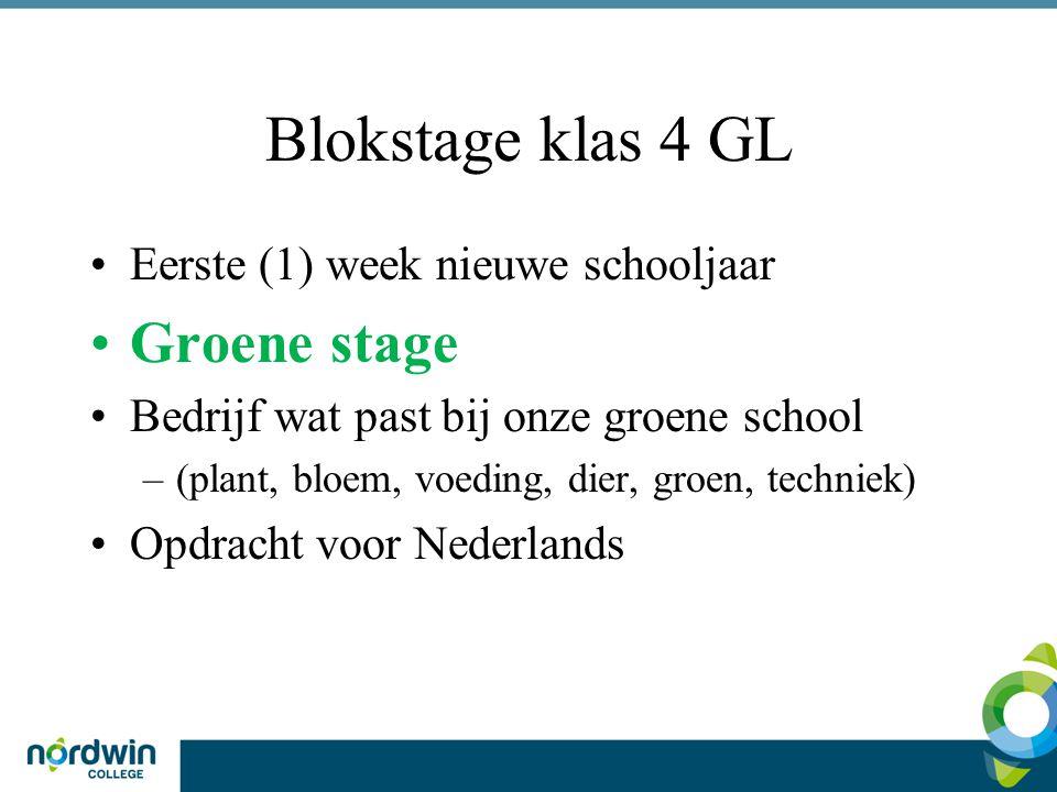 Blokstage klas 4 GL Groene stage Eerste (1) week nieuwe schooljaar