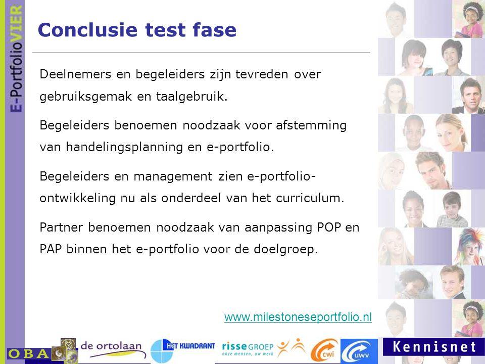 Conclusie test fase Deelnemers en begeleiders zijn tevreden over gebruiksgemak en taalgebruik.