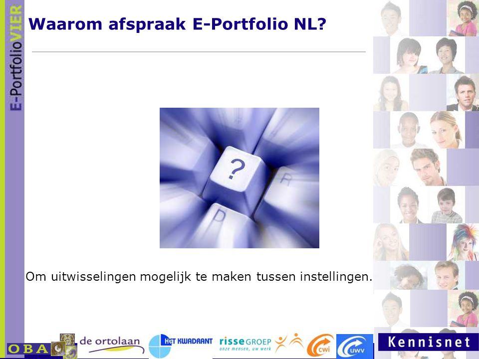 Waarom afspraak E-Portfolio NL