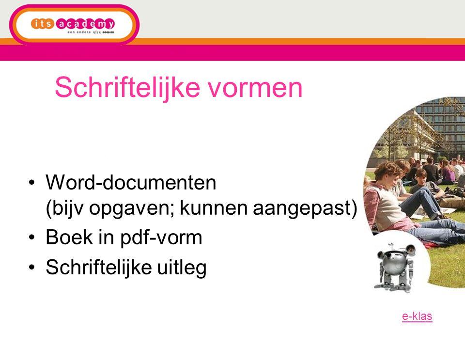 Schriftelijke vormen Word-documenten (bijv opgaven; kunnen aangepast)