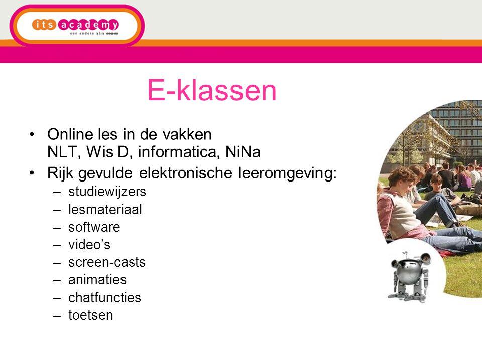 E-klassen Online les in de vakken NLT, Wis D, informatica, NiNa