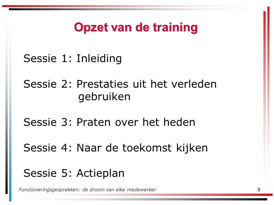 Opzet van de training Sessie 1: Inleiding