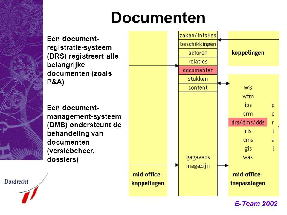 Documenten Een document-registratie-systeem (DRS) registreert alle belangrijke documenten (zoals P&A)