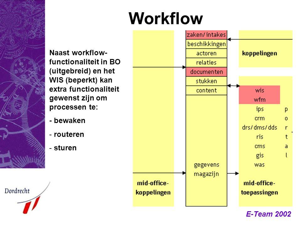 Workflow Naast workflow-functionaliteit in BO (uitgebreid) en het WIS (beperkt) kan extra functionaliteit gewenst zijn om processen te: