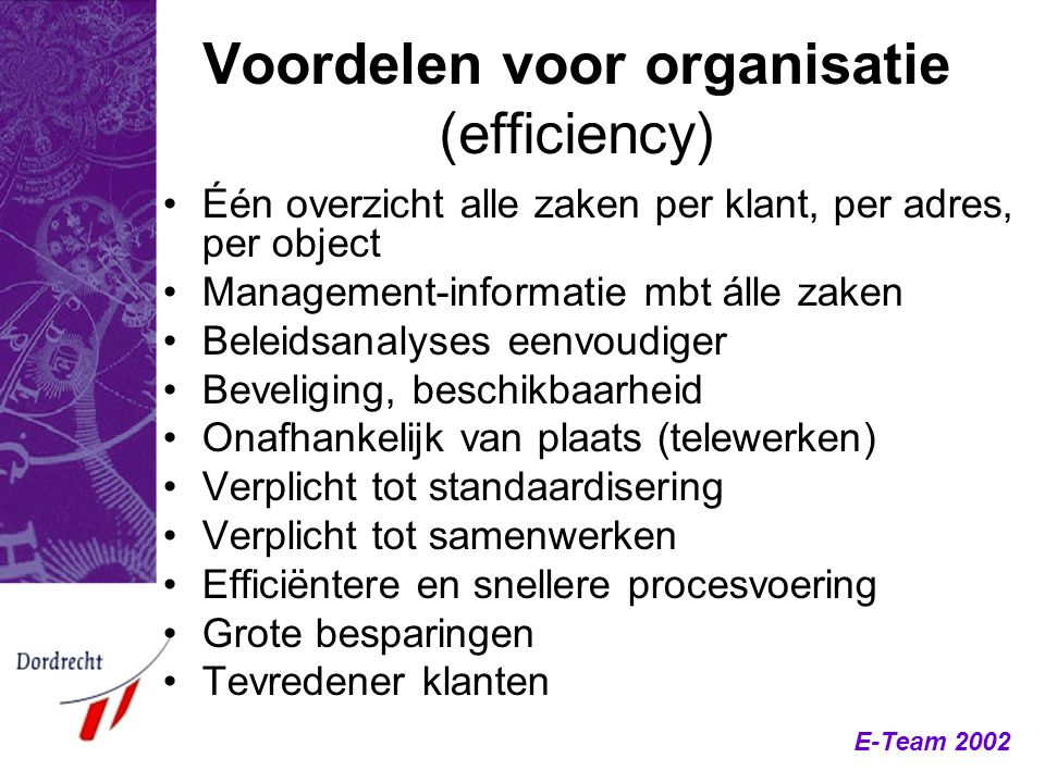 Voordelen voor organisatie (efficiency)