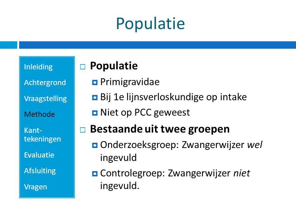 Populatie Populatie Bestaande uit twee groepen Primigravidae