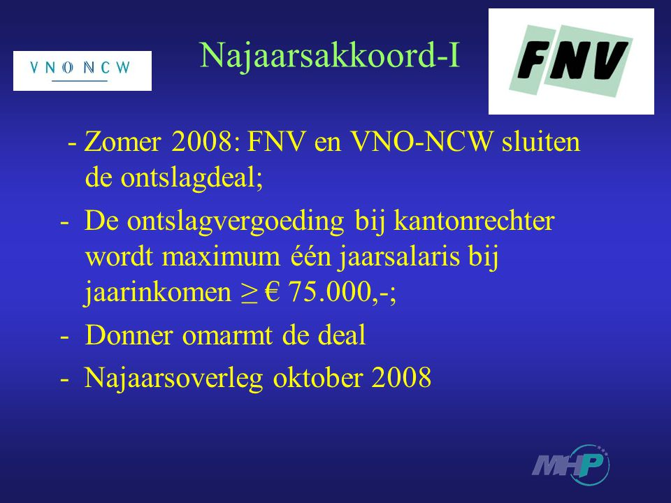 Najaarsakkoord-I - Zomer 2008: FNV en VNO-NCW sluiten de ontslagdeal;