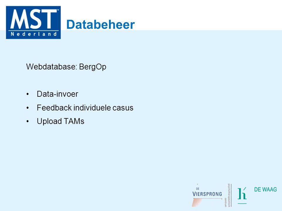Databeheer Webdatabase: BergOp Data-invoer Feedback individuele casus