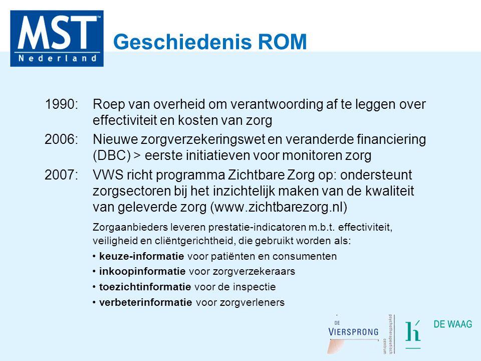 Geschiedenis ROM 1990: Roep van overheid om verantwoording af te leggen over effectiviteit en kosten van zorg.